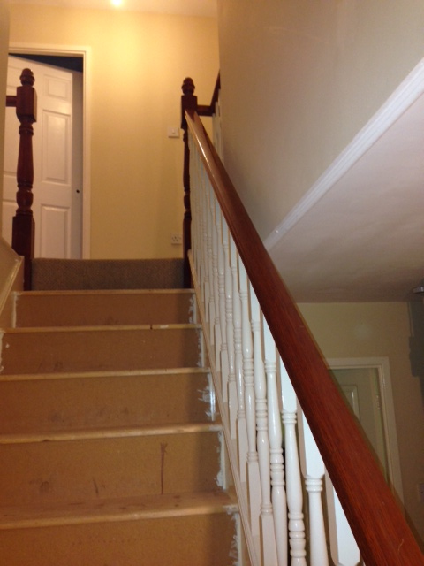 Sapele mopstick handrail with Traditional turned spindles